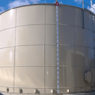 4,000 Gallon Carbon Bolted Steel Tank, Low Profile Roof – Diameter: 9' Peak Height: 8'-0