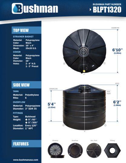 "1320 Gallon Low Profile Round Water Storage Tank 82""D x 72""H-6304"